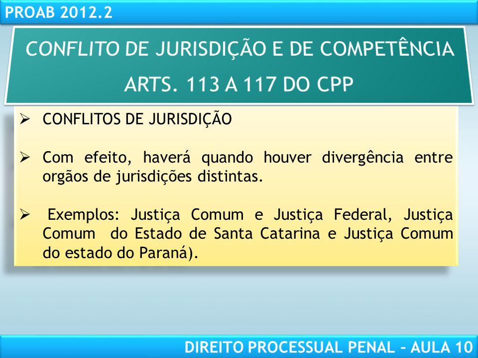 RESPONSABILIDADE CIVIL AULA 1 PROAB 2012.2 DIREITO PROCESSUAL PENAL – AULA 10 CONFLITO DE COMPETÊNCIA Ocorrer entre dois ou mais órgãos da mesma justiça.
