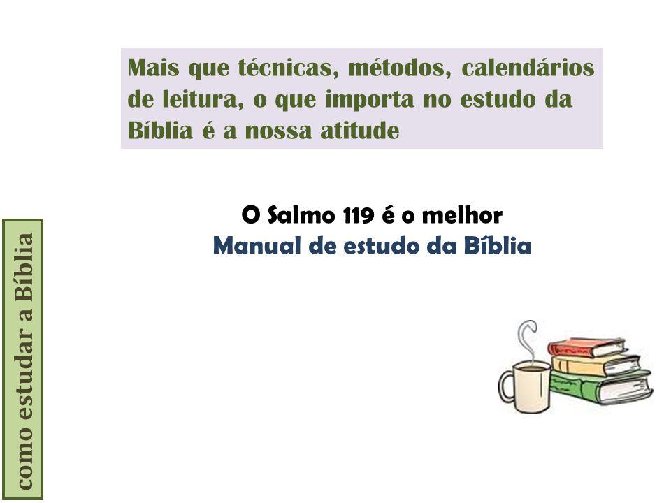 como estudar a Bíblia Mais que técnicas, métodos, calendários de leitura, o que importa no estudo da Bíblia é a nossa atitude O Salmo 119 é o melhor M