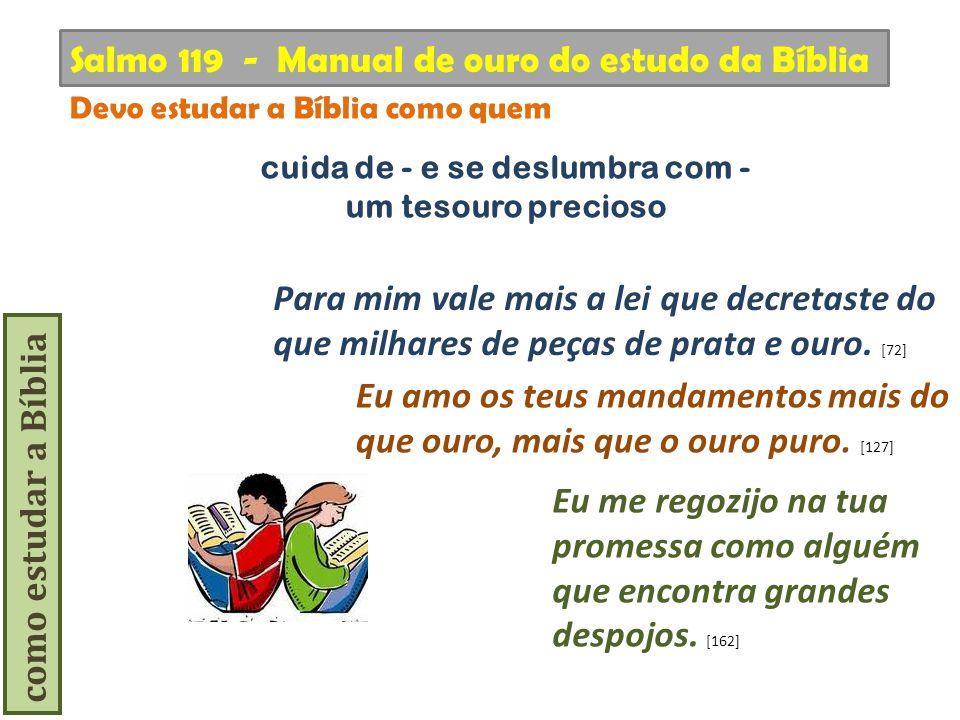 como estudar a Bíblia Devo estudar a Bíblia como quem Salmo 119 - Manual de ouro do estudo da Bíblia Eu amo os teus mandamentos mais do que ouro, mais
