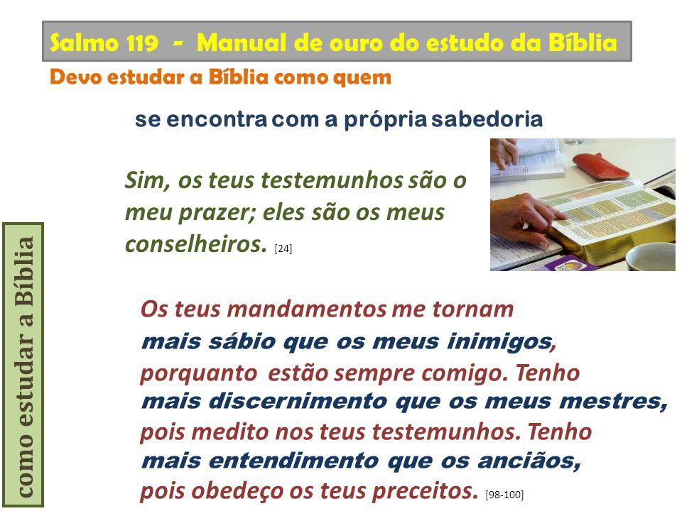 como estudar a Bíblia Os teus mandamentos me tornam mais sábio que os meus inimigos, porquanto estão sempre comigo. Tenho mais discernimento que os me