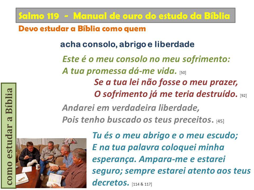 como estudar a Bíblia Andarei em verdadeira liberdade, Pois tenho buscado os teus preceitos. [ 45] Salmo 119 - Manual de ouro do estudo da Bíblia Devo