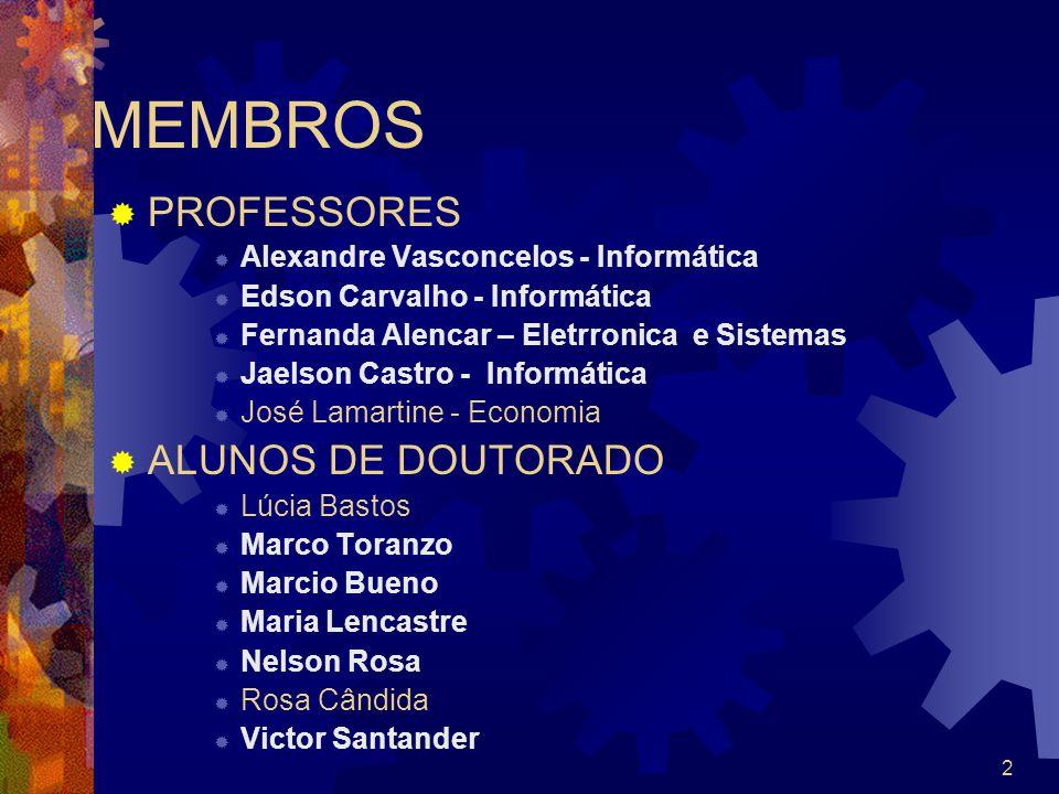 2 MEMBROS PROFESSORES Alexandre Vasconcelos - Informática Edson Carvalho - Informática Fernanda Alencar – Eletrronica e Sistemas Jaelson Castro - Info