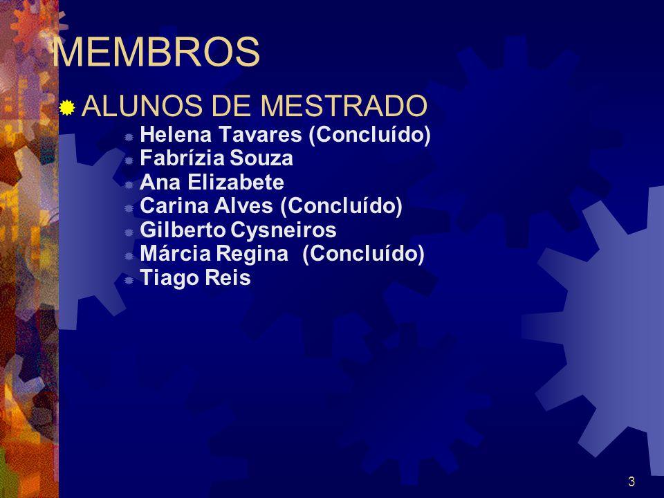 3 MEMBROS ALUNOS DE MESTRADO Helena Tavares (Concluído) Fabrízia Souza Ana Elizabete Carina Alves (Concluído) Gilberto Cysneiros Márcia Regina (Conclu