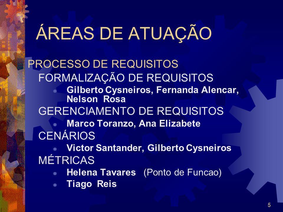 5 ÁREAS DE ATUAÇÃO PROCESSO DE REQUISITOS FORMALIZAÇÃO DE REQUISITOS Gilberto Cysneiros, Fernanda Alencar, Nelson Rosa GERENCIAMENTO DE REQUISITOS Mar