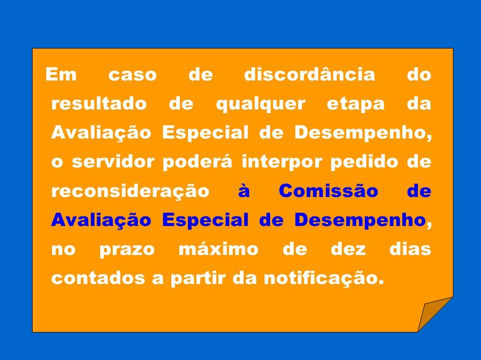 Em caso de discordância do resultado de qualquer etapa da Avaliação Especial de Desempenho, o servidor poderá interpor pedido de reconsideração à Comi