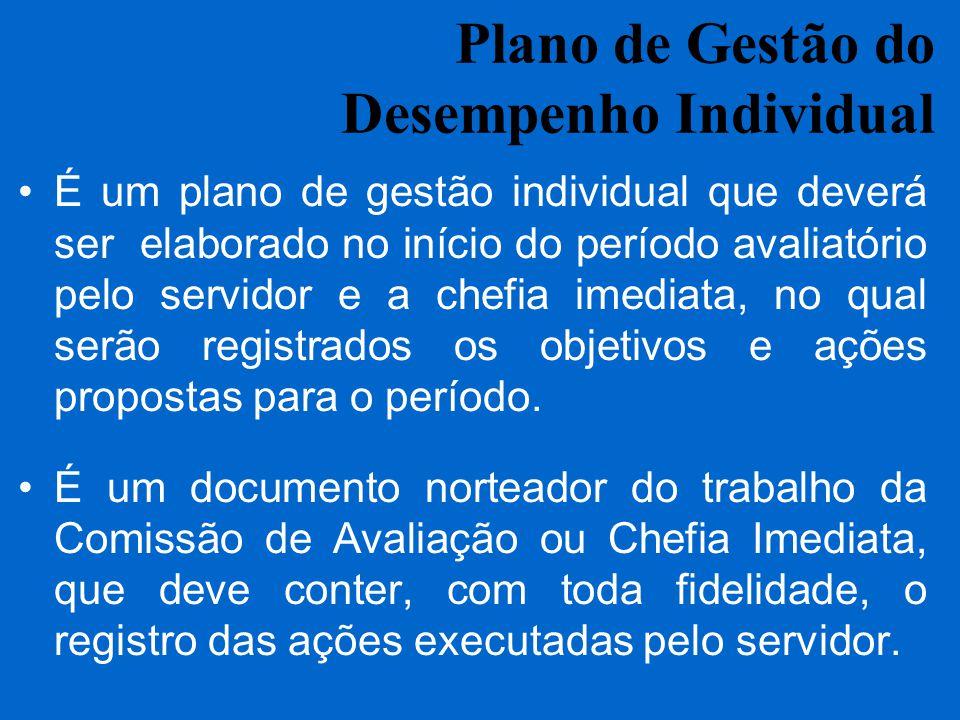 Plano de Gestão do Desempenho Individual É um plano de gestão individual que deverá ser elaborado no início do período avaliatório pelo servidor e a c