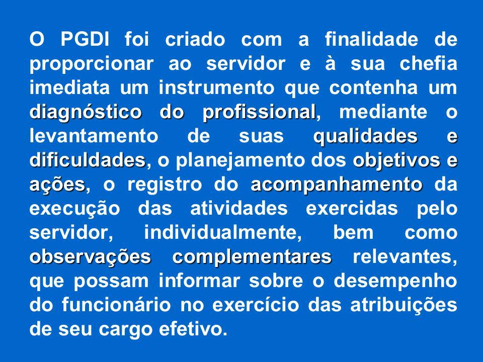 diagnóstico do profissional qualidades e dificuldadesobjetivos e açõesacompanhamento observações complementares O PGDI foi criado com a finalidade de
