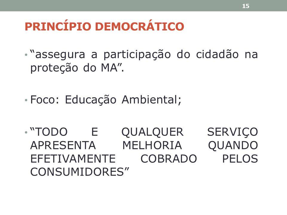PRINCÍPIO DEMOCRÁTICO assegura a participação do cidadão na proteção do MA. Foco: Educação Ambiental; TODO E QUALQUER SERVIÇO APRESENTA MELHORIA QUAND