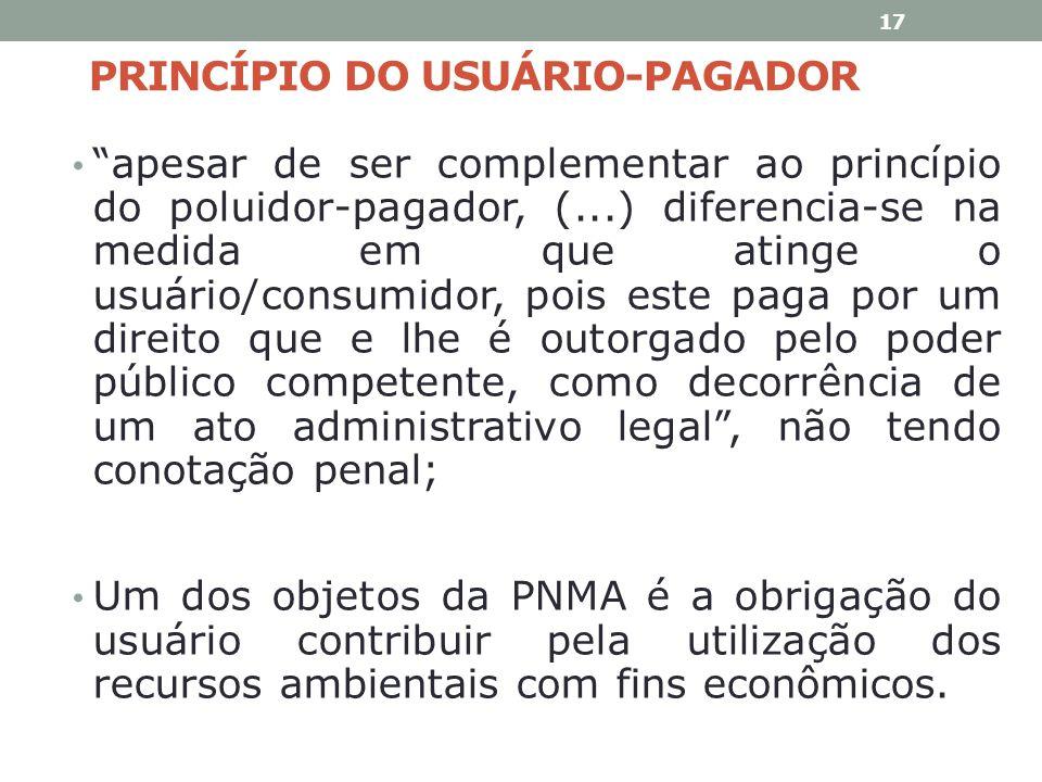 PRINCÍPIO DO USUÁRIO-PAGADOR apesar de ser complementar ao princípio do poluidor-pagador, (...) diferencia-se na medida em que atinge o usuário/consum