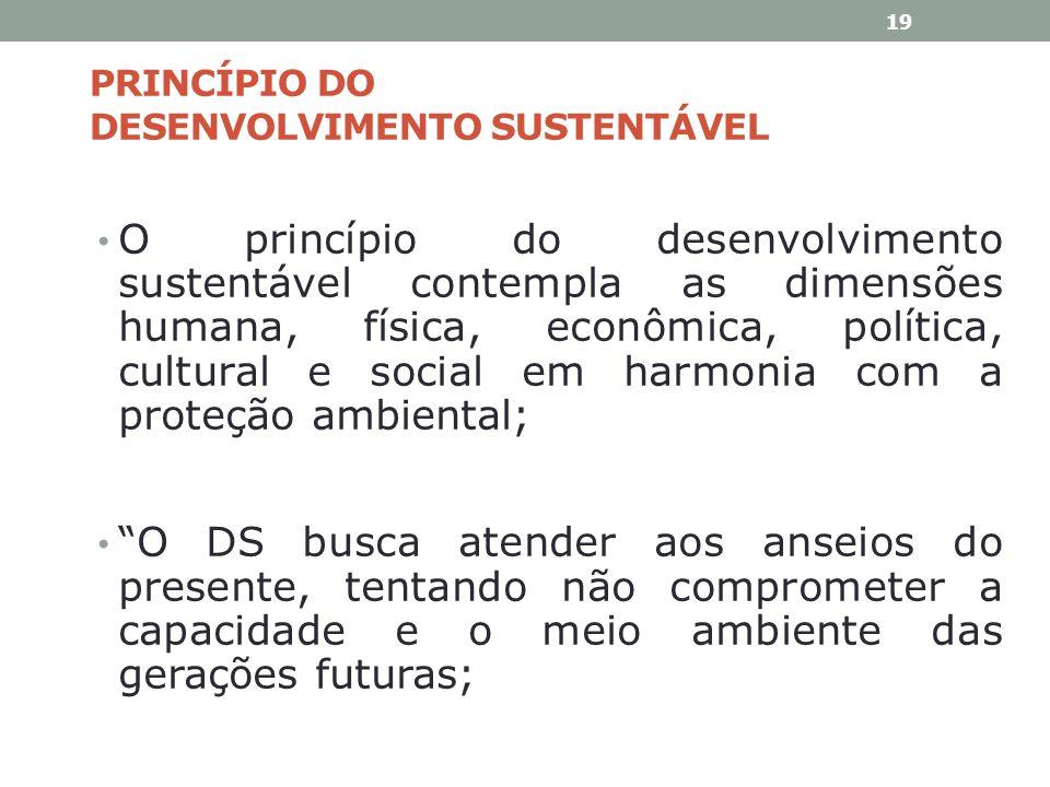 PRINCÍPIO DO DESENVOLVIMENTO SUSTENTÁVEL O princípio do desenvolvimento sustentável contempla as dimensões humana, física, econômica, política, cultur