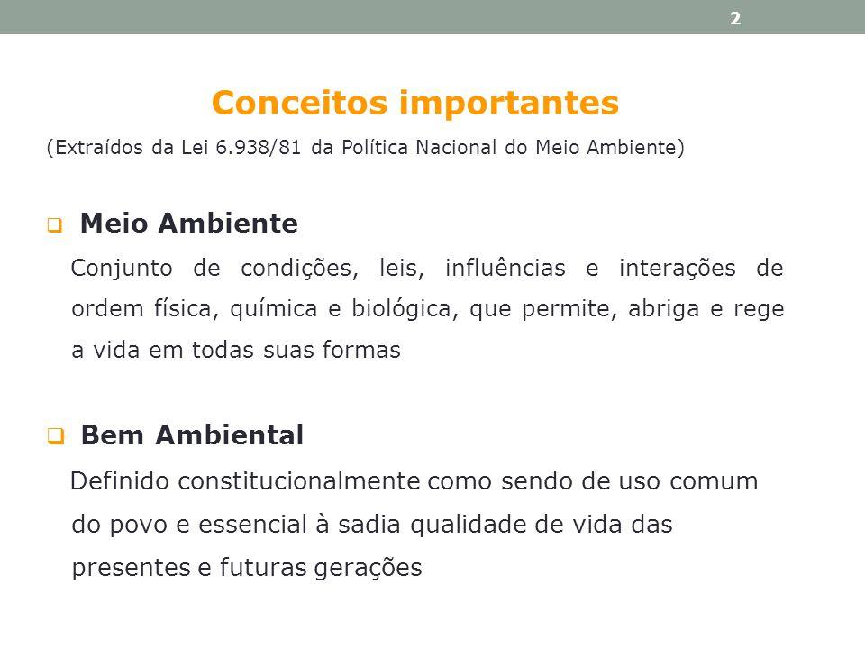Conceitos importantes (Extraídos da Lei 6.938/81 da Política Nacional do Meio Ambiente) Meio Ambiente Conjunto de condições, leis, influências e inter