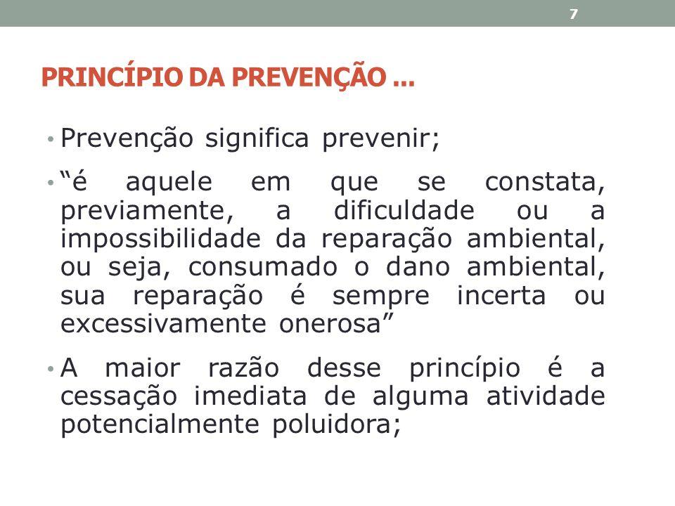 PRINCÍPIO DA PREVENÇÃO... Prevenção significa prevenir; é aquele em que se constata, previamente, a dificuldade ou a impossibilidade da reparação ambi
