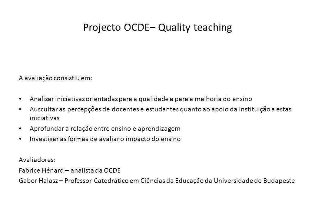 Projecto OCDE– Quality teaching A avaliação consistiu em: Analisar iniciativas orientadas para a qualidade e para a melhoria do ensino Auscultar as pe