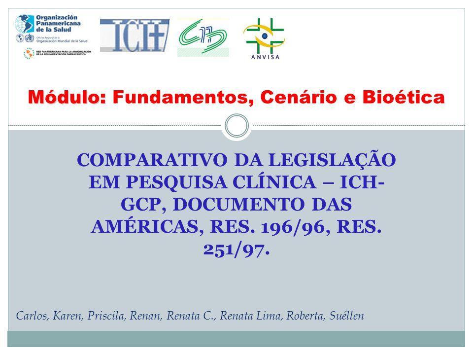 COMPARATIVO DA LEGISLAÇÃO EM PESQUISA CLÍNICA – ICH- GCP, DOCUMENTO DAS AMÉRICAS, RES. 196/96, RES. 251/97. Módulo: Módulo: Fundamentos, Cenário e Bio