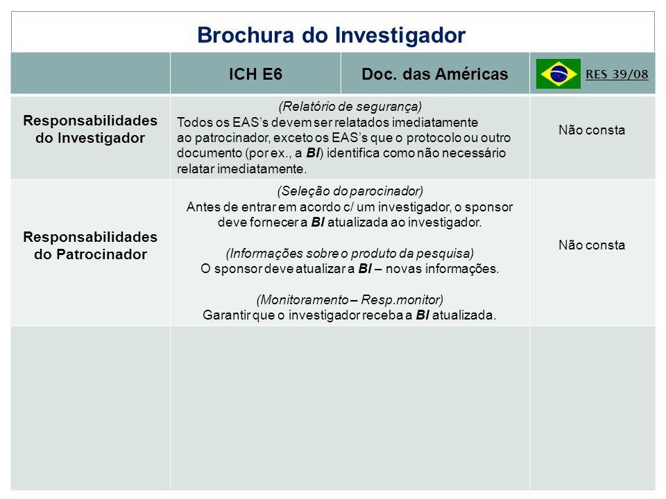 Brochura do Investigador ICH E6Doc. das Américas RES 39/08 Responsabilidades do Investigador (Relatório de segurança) Todos os EASs devem ser relatado