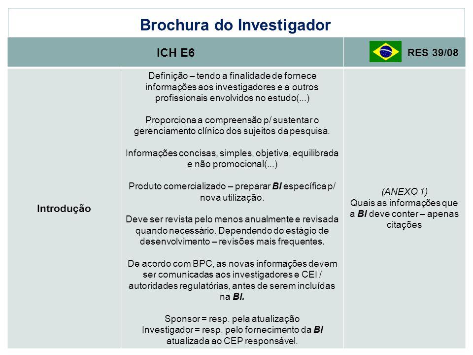 Brochura do Investigador ICH E6 RES 39/08 Introdução Definição – tendo a finalidade de fornece informações aos investigadores e a outros profissionais