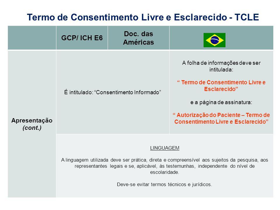 GCP/ ICH E6 Doc. das Américas Apresentação (cont.) É intitulado: Consentimento Informado A folha de informações deve ser intitulada: Termo de Consenti