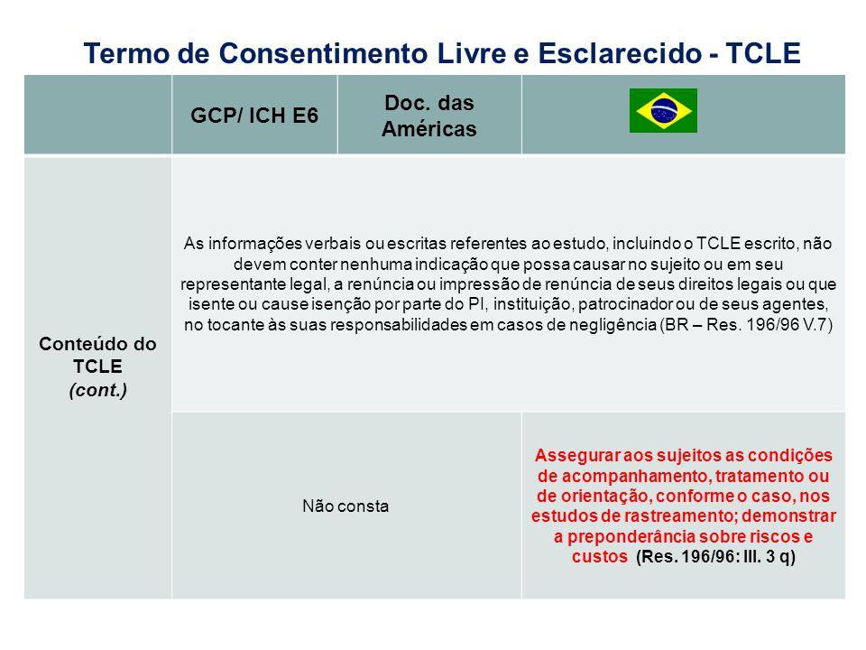 GCP/ ICH E6 Doc. das Américas Conteúdo do TCLE (cont.) As informações verbais ou escritas referentes ao estudo, incluindo o TCLE escrito, não devem co