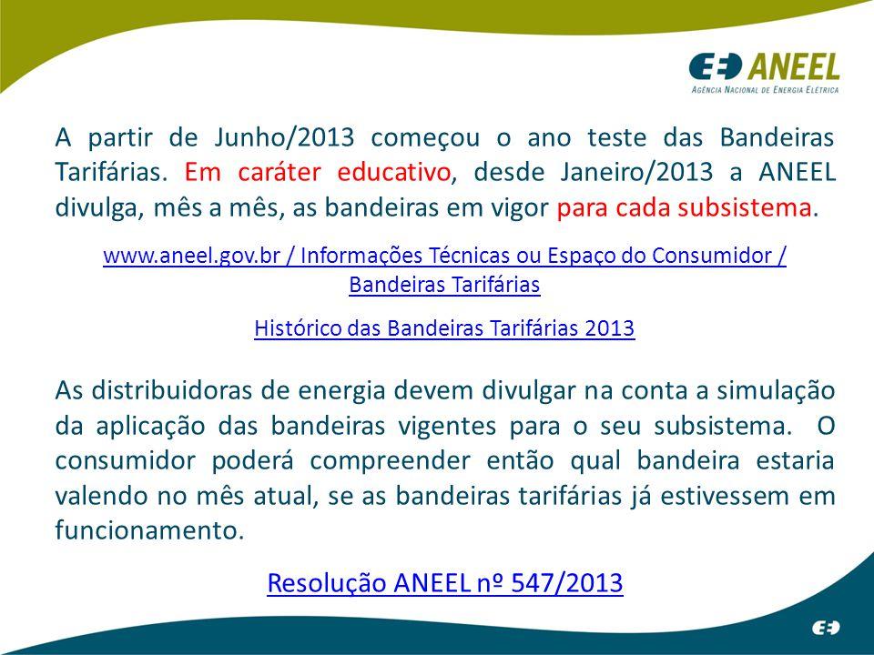 A partir de Junho/2013 começou o ano teste das Bandeiras Tarifárias. Em caráter educativo, desde Janeiro/2013 a ANEEL divulga, mês a mês, as bandeiras