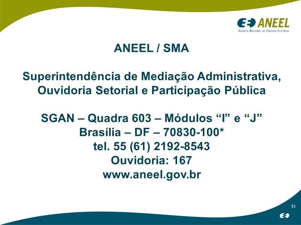 13 ANEEL / SMA Superintendência de Mediação Administrativa, Ouvidoria Setorial e Participação Pública SGAN – Quadra 603 – Módulos I e J Brasília – DF