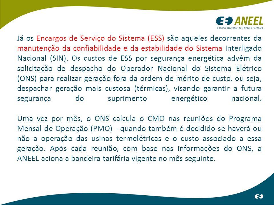 Já os Encargos de Serviço do Sistema (ESS) são aqueles decorrentes da manutenção da confiabilidade e da estabilidade do Sistema Interligado Nacional (