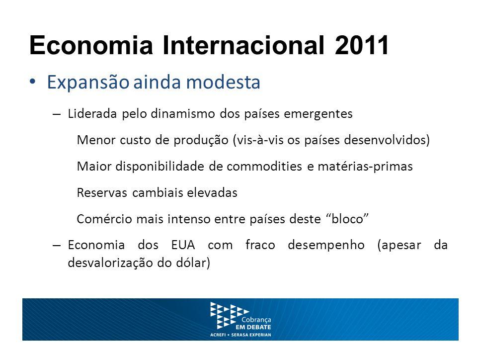 Expansão ainda modesta – União Europeia e Japão com crescimento lento – Países desenvolvidos enfrentarão grandes obstáculos: Elevado desemprego Desequilíbrio fiscal – refreia consumo e investimento Baixa competitividade amplia déficits externos Economia Internacional 2011