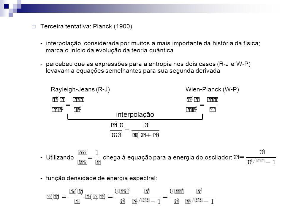 Terceira tentativa: Planck (1900) - interpolação, considerada por muitos a mais importante da história da física; marca o início da evolução da teoria