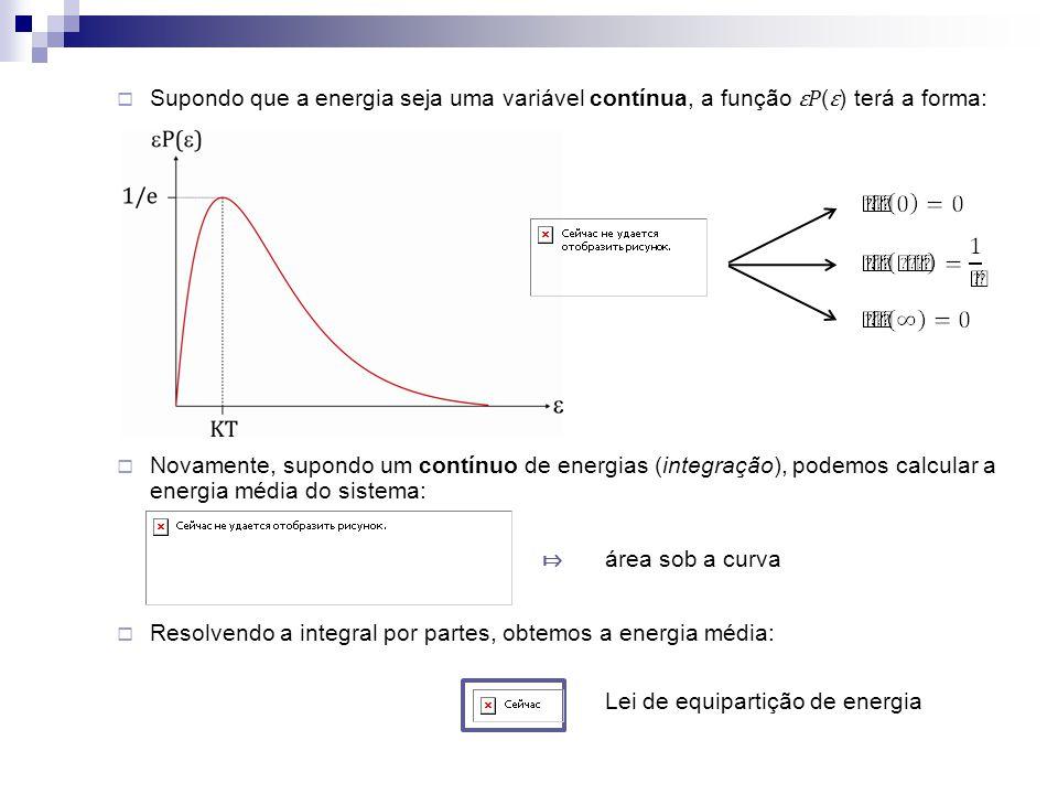 Supondo que a energia seja uma variável contínua, a função ε P ( ε ) terá a forma: Novamente, supondo um contínuo de energias (integração), podemos ca