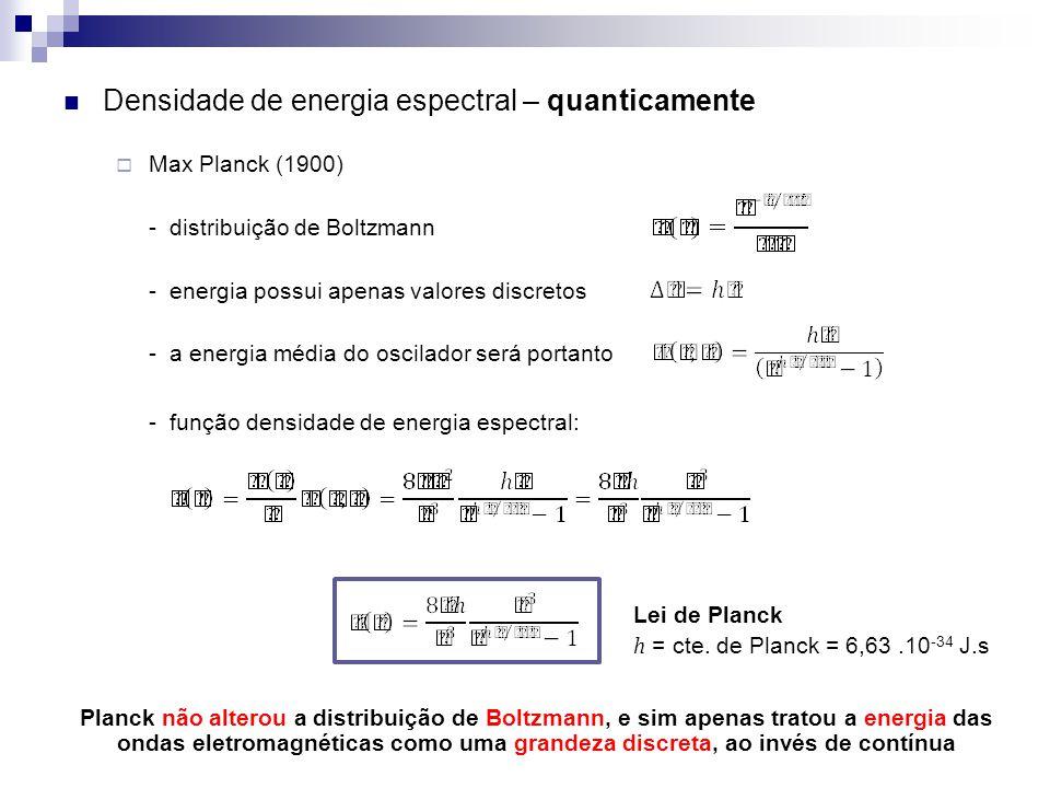 Densidade de energia espectral – quanticamente Max Planck (1900) - distribuição de Boltzmann - energia possui apenas valores discretos - a energia méd