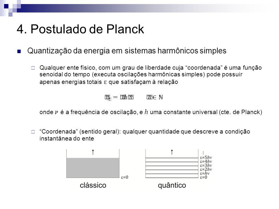 4. Postulado de Planck Quantização da energia em sistemas harmônicos simples Qualquer ente físico, com um grau de liberdade cuja coordenada é uma funç