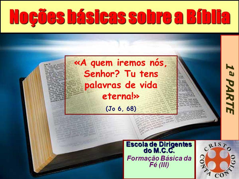 Noções básicas sobre a Bíblia Escola de Dirigentes do M.C.C. Formação Básica da Fé (III) 1ª PARTE «A quem iremos nós, Senhor? Tu tens palavras de vida
