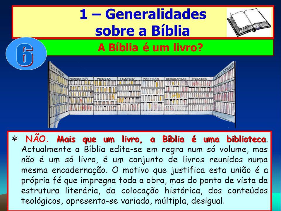 Mais que um livro, a Bíblia é uma biblioteca NÃO. Mais que um livro, a Bíblia é uma biblioteca. Actualmente a Bíblia edita-se em regra num só volume,