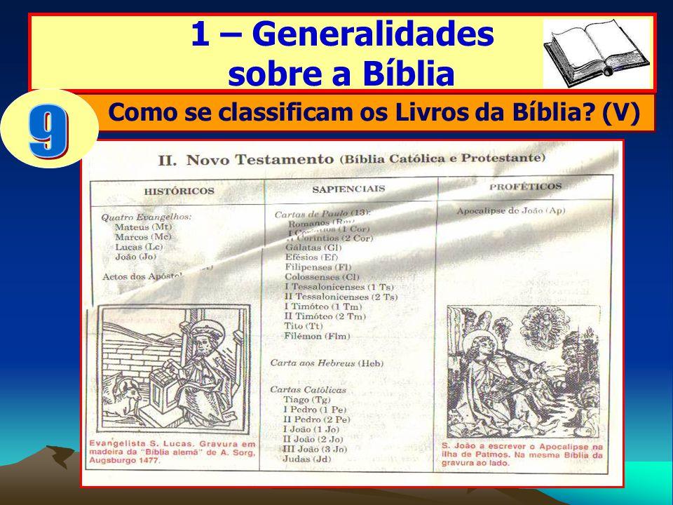 1 – Generalidades sobre a Bíblia Como se classificam os Livros da Bíblia? (V)