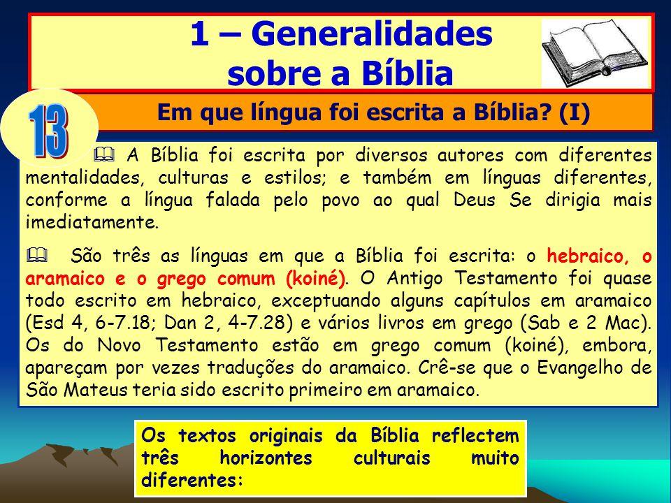 A Bíblia foi escrita por diversos autores com diferentes mentalidades, culturas e estilos; e também em línguas diferentes, conforme a língua falada pe