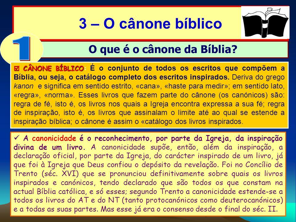 3 – O cânone bíblico O que é o cânone da Bíblia? CÂNONE BÍBLICO CÂNONE BÍBLICO: É o conjunto de todos os escritos que compõem a Bíblia, ou seja, o cat