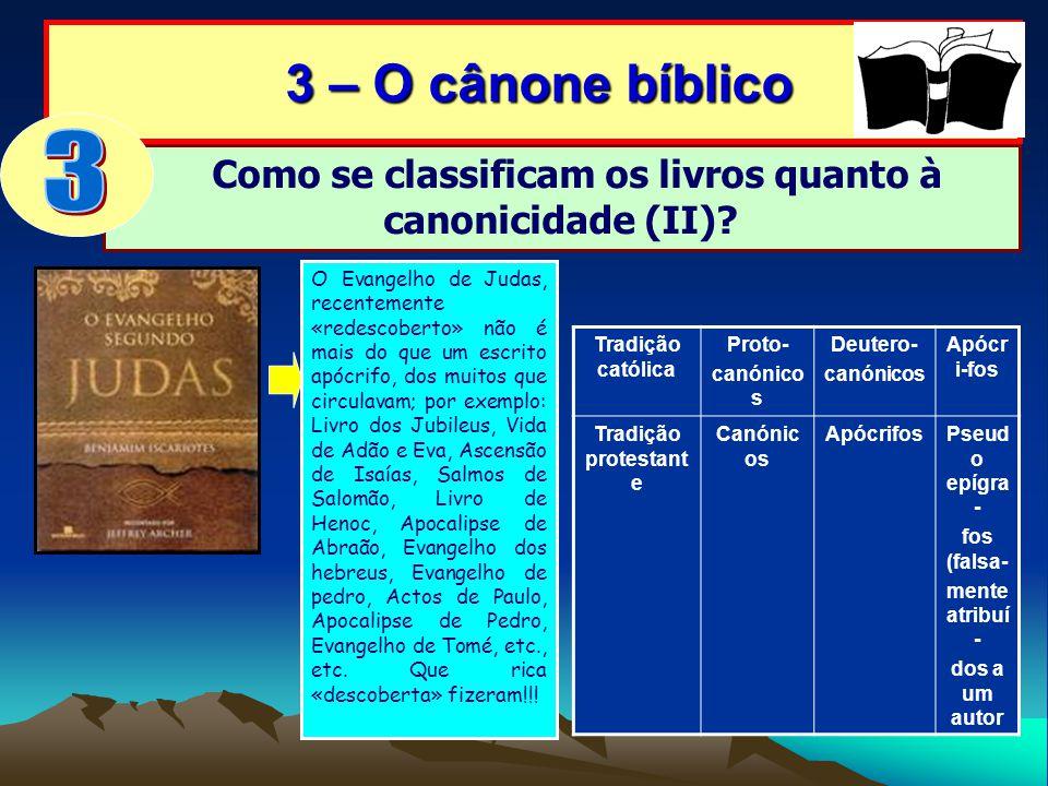 Como se classificam os livros quanto à canonicidade (II)? 3 – O cânone bíblico 3 – O cânone bíblico O Evangelho de Judas, recentemente «redescoberto»