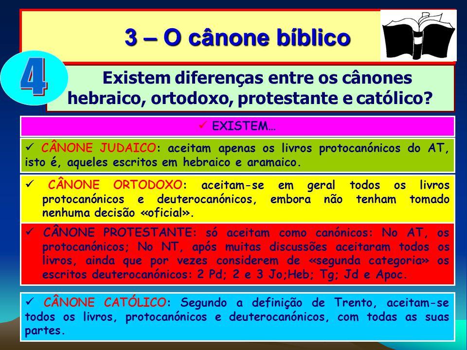Existem diferenças entre os cânones hebraico, ortodoxo, protestante e católico? 3 – O cânone bíblico EXISTEM… CÂNONE JUDAICO: aceitam apenas os livros