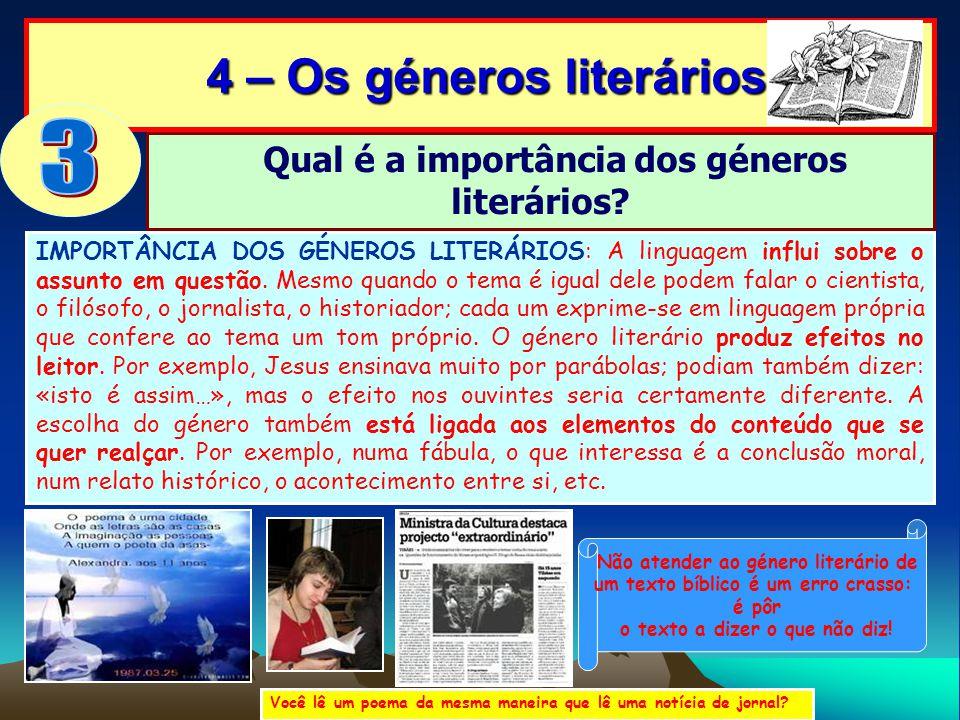 4 – Os géneros literários 4 – Os géneros literários IMPORTÂNCIA DOS GÉNEROS LITERÁRIOS: A linguagem influi sobre o assunto em questão. Mesmo quando o