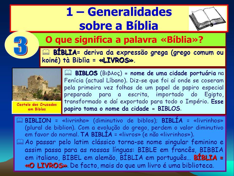 1 – Generalidades sobre a Bíblia O que significa a palavra «Bíblia»? BIBLION = «livrinho» (diminutivo de biblos); BIBLÍA = «livrinhos» (plural de bibl