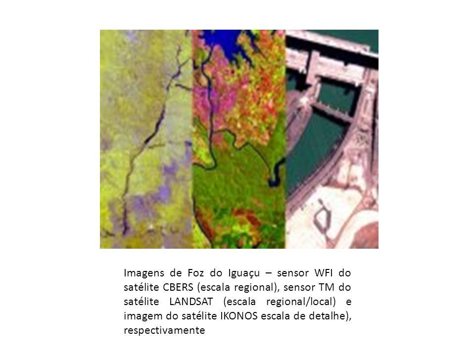 Imagens de Foz do Iguaçu – sensor WFI do satélite CBERS (escala regional), sensor TM do satélite LANDSAT (escala regional/local) e imagem do satélite