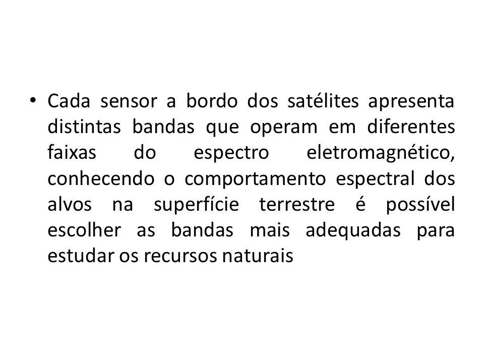 Cada sensor a bordo dos satélites apresenta distintas bandas que operam em diferentes faixas do espectro eletromagnético, conhecendo o comportamento e