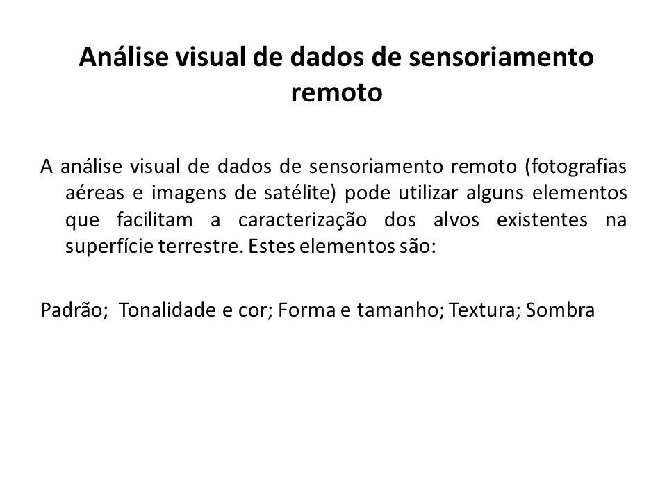 Análise visual de dados de sensoriamento remoto A análise visual de dados de sensoriamento remoto (fotografias aéreas e imagens de satélite) pode util