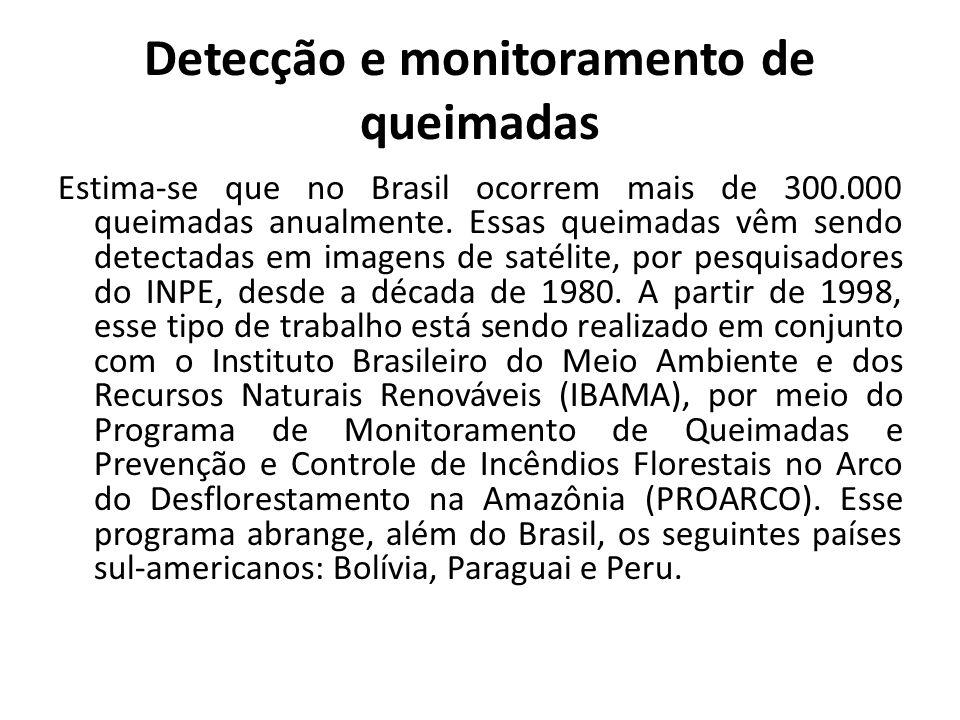 Detecção e monitoramento de queimadas Estima-se que no Brasil ocorrem mais de 300.000 queimadas anualmente. Essas queimadas vêm sendo detectadas em im