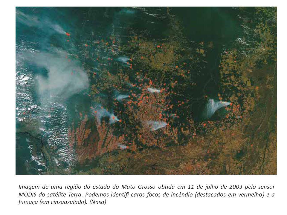 Imagem de uma região do estado do Mato Grosso obtida em 11 de julho de 2003 pelo sensor MODIS do satélite Terra. Podemos identifi caros focos de incên