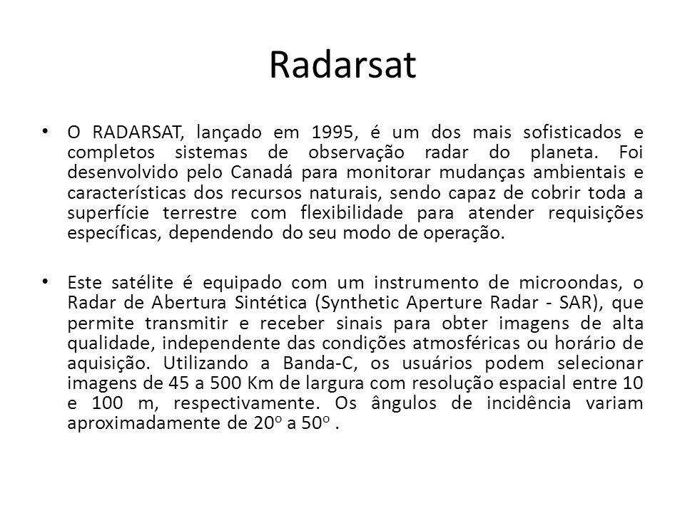 Radarsat O RADARSAT, lançado em 1995, é um dos mais sofisticados e completos sistemas de observação radar do planeta. Foi desenvolvido pelo Canadá par