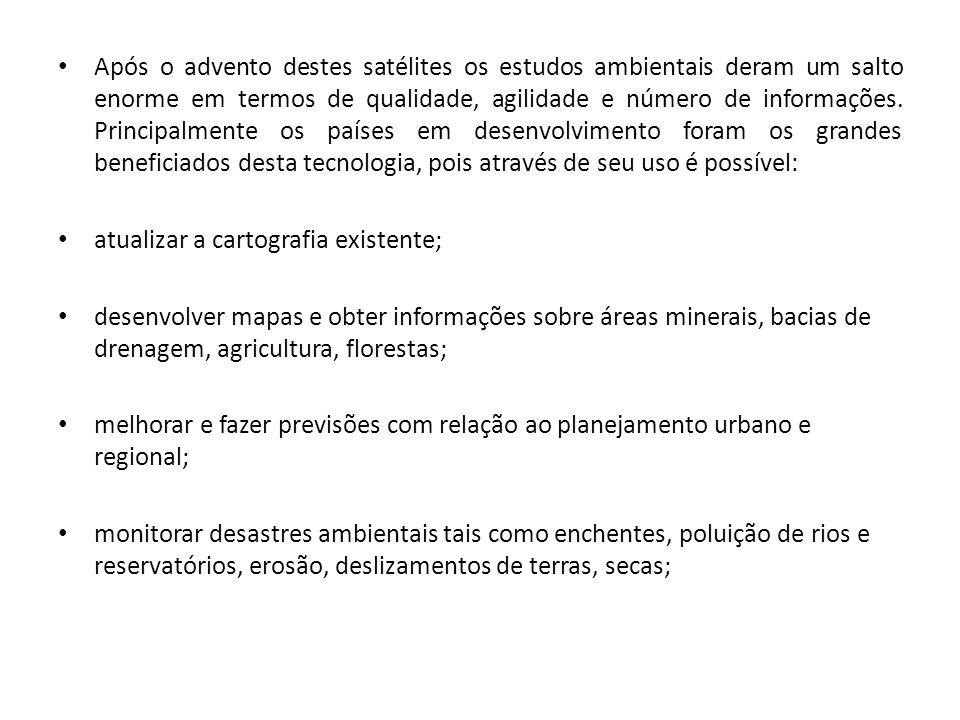 monitorar desmatamentos; estudos sobre correntes oceânicas e movimentação de cardumes, aumentando assim a produtividade na pesca; estimativa da taxa de desflorestamento da Amazônia Legal; suporte de planos diretores municipais; estudos de Impactos Ambientais (EIA) e Relatórios de Impacto sobre Meio Ambiente (RIMA); levantamento de áreas favoráveis para exploração de mananciais hídricos subterrâneos; monitoramento de mananciais e corpos hídricos superficiais;