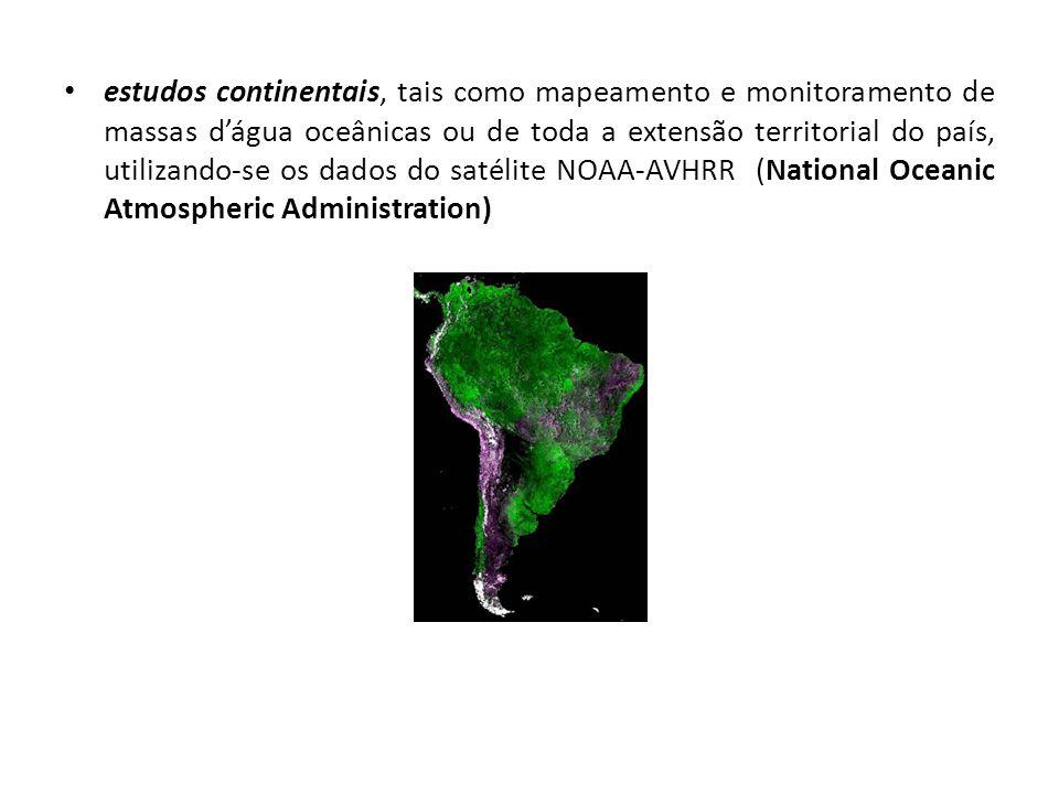 estudos continentais, tais como mapeamento e monitoramento de massas dágua oceânicas ou de toda a extensão territorial do país, utilizando-se os dados