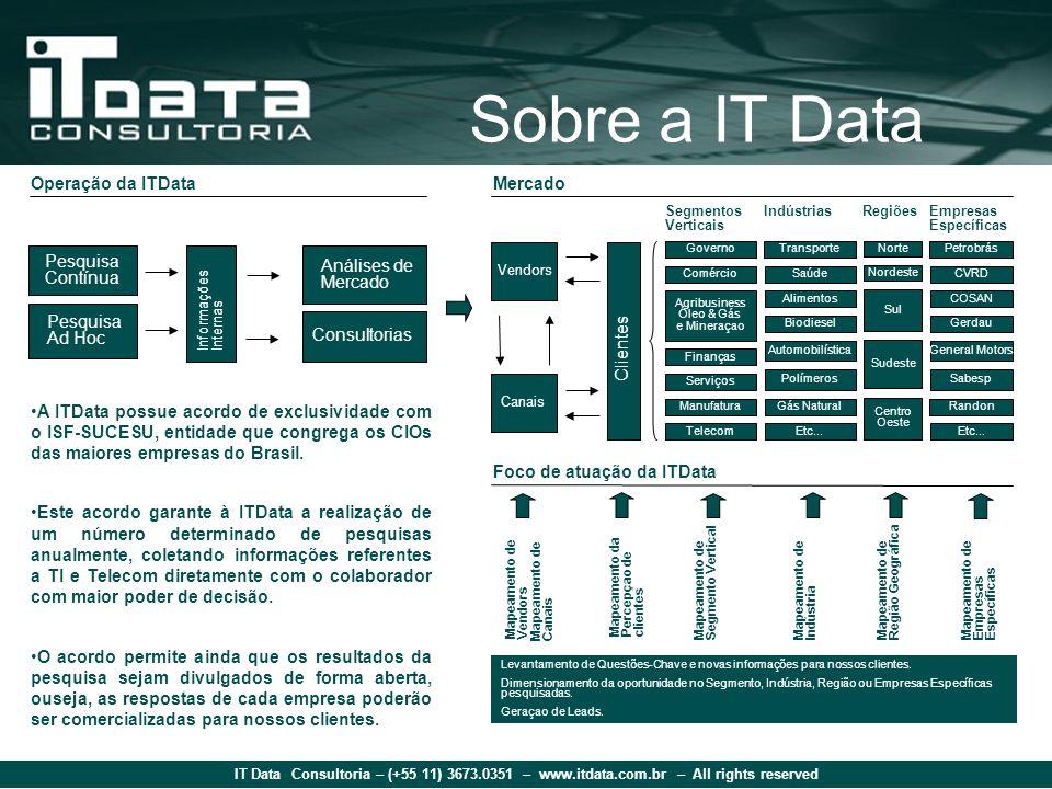 IT Data Consultoria – (+55 11) 3673.0351 – www.itdata.com.br – All rights reserved Vendors Canais Governo Segmentos Verticais Comércio Agribusiness Ól