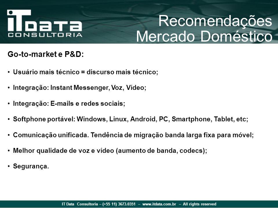 IT Data Consultoria – (+55 11) 3673.0351 – www.itdata.com.br – All rights reserved Recomendações Mercado Doméstico Go-to-market e P&D: Usuário mais té