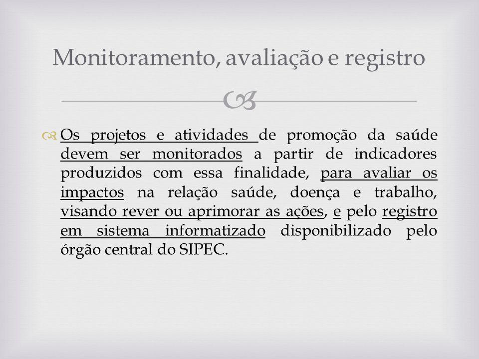Os projetos e atividades de promoção da saúde devem ser monitorados a partir de indicadores produzidos com essa finalidade, para avaliar os impactos n